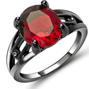 Jewelry - Red Ruby Garnet Black Gold GF 18KT Size 8 RIng